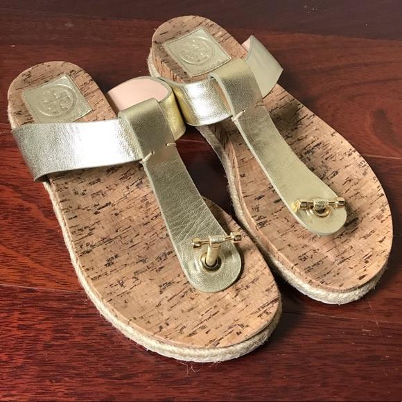 ❤️SALE❤ Tory Burch Gold Leather Cork Sandals 8